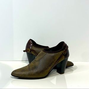 Donald J Pliner leather and crock embossed booties